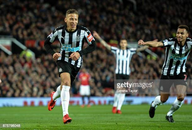 Dwight Gale of Newcastle United celebrates after he scores the opening goal during the Premier League match between Manchester United and Newcastle...