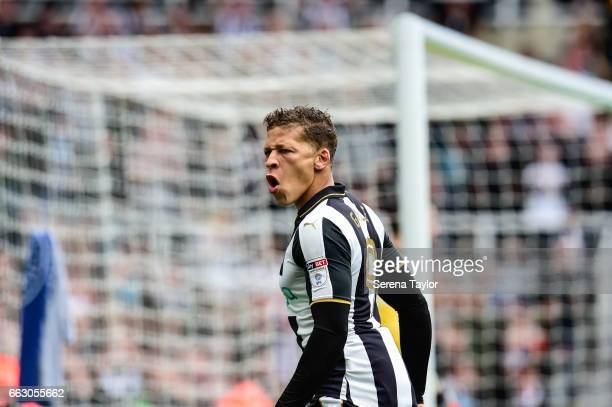 Dwight Gale of Newcastle United celebrates after scoring the opening goal during the Sky Bet Championship match between Newcastle United and Wigan...