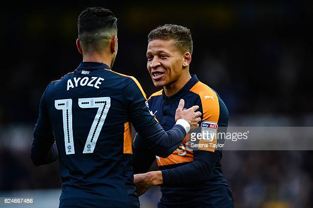Dwight Gale of Newcastle United celebrates with teammate Ayoze Perez after scoring Newcastle's second goal during the Sky Bet Championship Match...