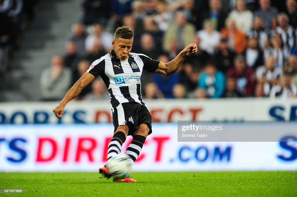 Dwight Gale of Newcastle United (09) scores Newcastle's third goal from a free kick during the Sky Bet Championship match between Newcastle United and Reading at St.James' Park on August 17, 2016, in Newcastle upon Tyne, England.