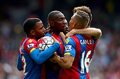 Dwight Gayle of Crystal Palace celebrates his goal during the Barclays Premier League match between Crystal Palace v Stoke City at Selhurst Park on...