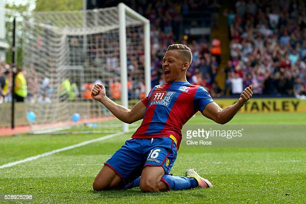 Dwight Gayle of Crystal Palace celebrates his second goal during the Barclays Premier League match between Crystal Palace v Stoke City at Selhurst...