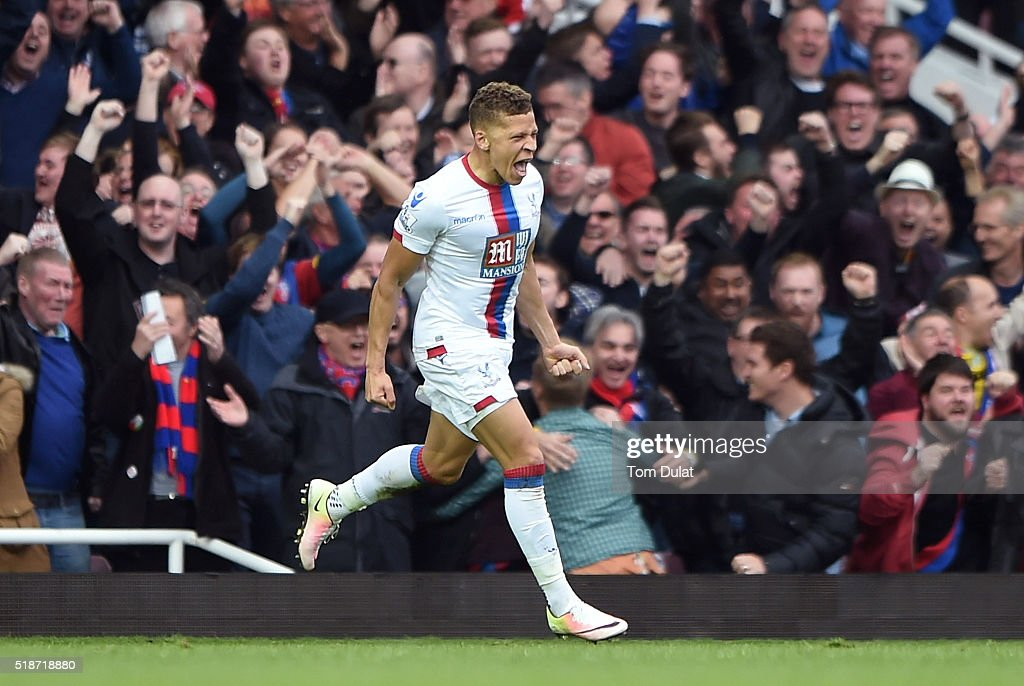 Dwight Gayle of Crystal Palace celebrates scoring his team's second goal during the Barclays Premier League match between West Ham United and Crystal Palace at the Boleyn Ground on April 2, 2016 in London, England.