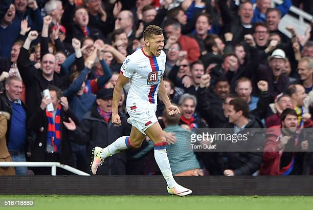 Dwight Gayle of Crystal Palace celebrates scoring his team's second goal during the Barclays Premier League match between West Ham United and Crystal...