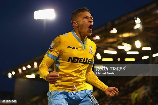 Dwight Gayle of Crystal Palace celebrates scoring their third goal during the Barclays Premier League match between Burnley and Crystal Palace at...