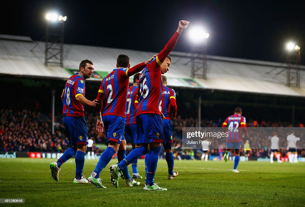 Dwight Gayle of Crystal Palace (16) celebrates with team mates as he scores their first and equalisin goal from a penalty during the Barclays Premier League match between Crystal Palace and Tottenham Hotspur at Selhurst Park on January 10, 2015 in London, England.