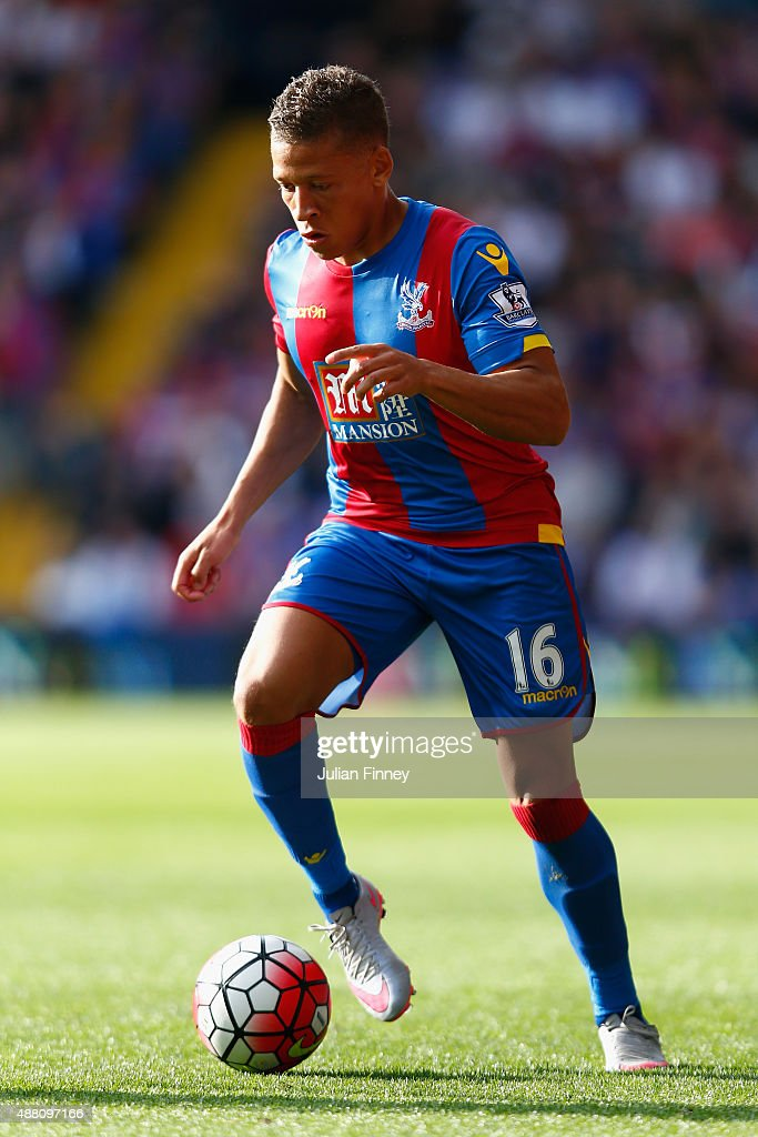Dwight Gayle of Crystal Palace in action during the Barclays Premier League match between Crystal Palace and Manchester City at Selhurst Park on September 12, 2015 in London, United Kingdom.