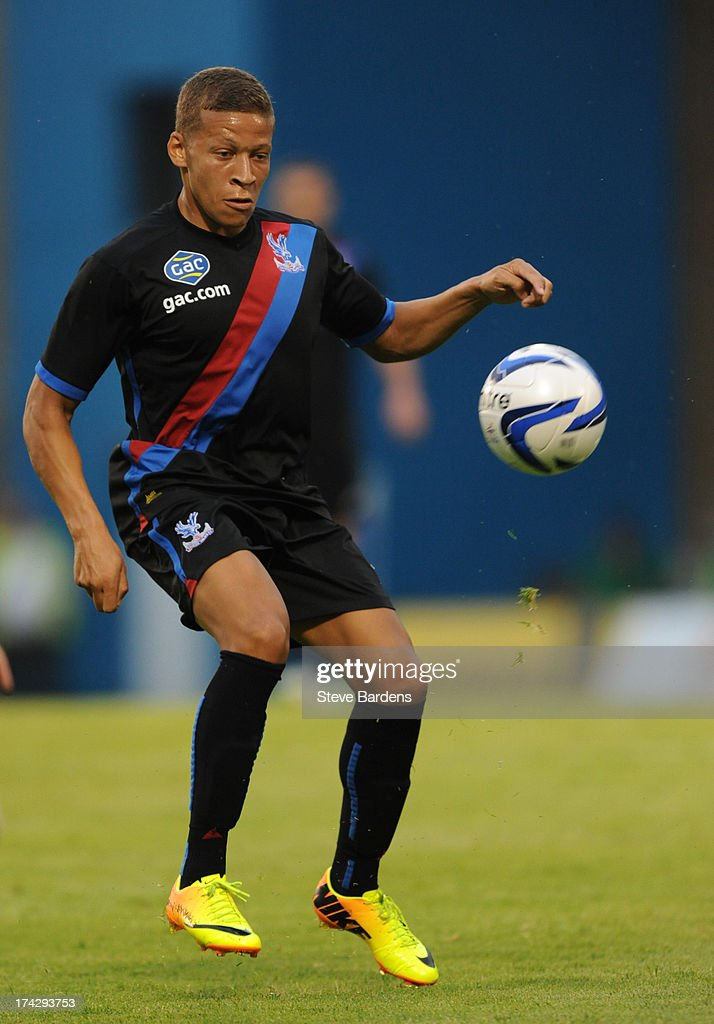 Dwight Gayle of Crystal Palace in action during the pre season friendly match between Gillingham and Crystal Palace at Priestfield Stadium on July 23, 2013 in Gillingham, Medway.