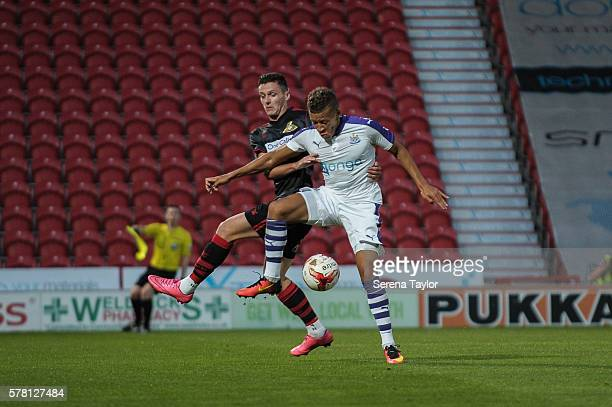 Dwight Gayle of Newcastle controls the ball during the PreSeason Friendly between Doncaster Rovers and Newcastle United at Keepmoat Stadium on July...
