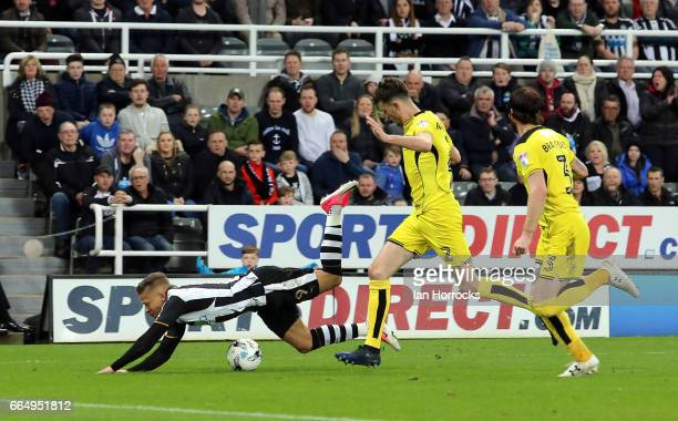 Dwight Gayle of Newcastle is brought down for a penalty during the Sky Bet Championship match between Newcastle United and Burton Albion at St James'...