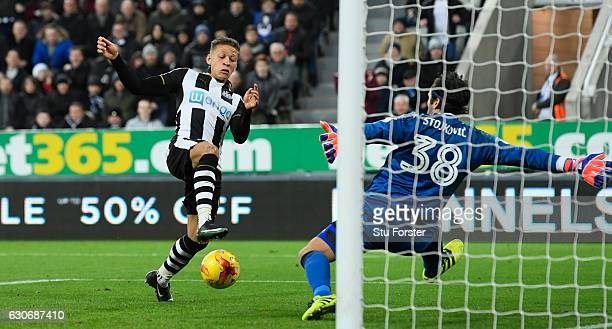 Dwight Gayle of Newcastle scores the third Newcastle goal during the Sky Bet Championship match between Newcastle United and Nottingham Forest at St...