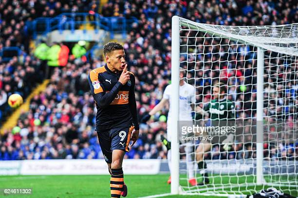 Dwight Gayle of Newcastle United celebrates after scoring the opening goal during the Sky Bet Championship Match between Leeds United and Newcastle...