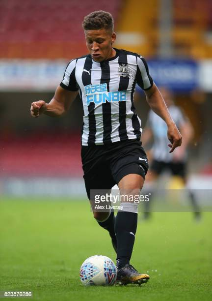 Dwight Gayle of Newcastle United during a preseason friendly match between Bradford City and Newcastle United at Northern Commercials Stadium on July...