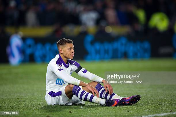 Dwight Gayle of Newcastle United during the EFL Cup QuarterFinal match between Hull City and Newcastle United at KCOM Stadium on November 29 2016 in...