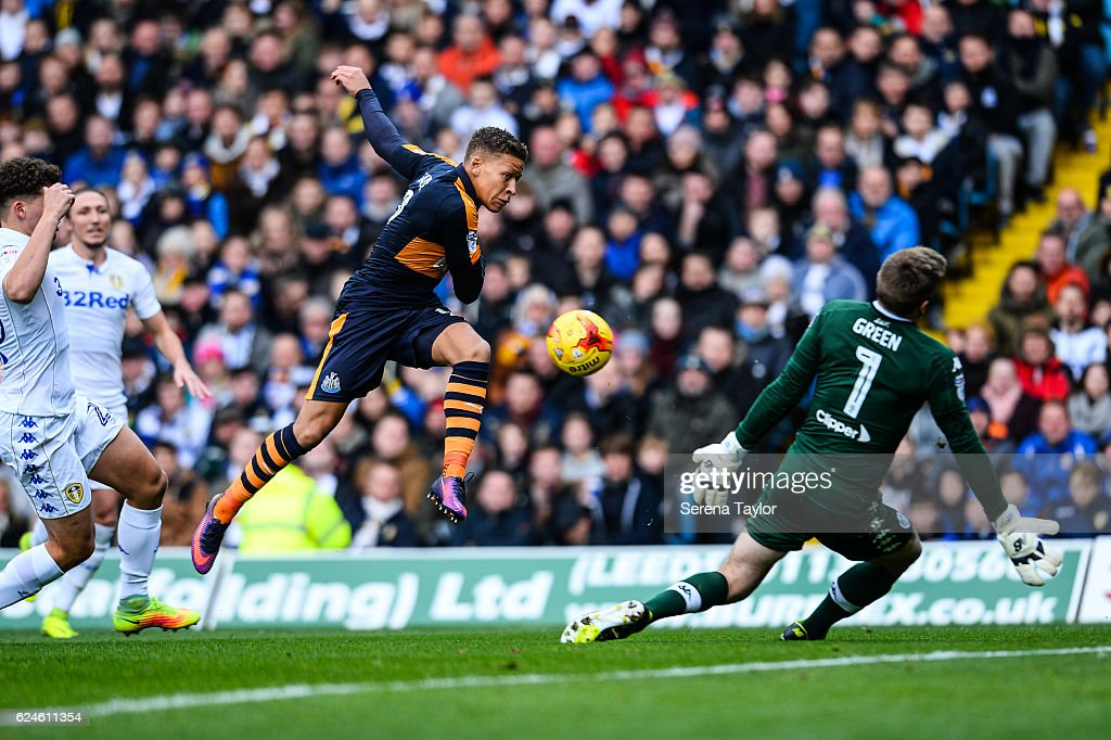 Dwight Gayle of Newcastle United (09) strikes the ball which is saved by Leeds United Goalkeeper Robert Green (1) during the Sky Bet Championship Match between Leeds United and Newcastle United at Elland Road on November 20, 2016 in London, England.