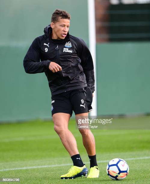 Dwight Gayle passes the ball during the Newcastle United Training session at the Newcastle United Training Centre on October 13 in Newcastle England