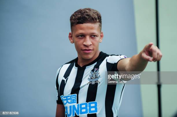 Dwight Gayle poses during the Newcastle United Media Photo Call Day at the Newcastle United Training ground on July 31 in Newcastle upon Tyne England