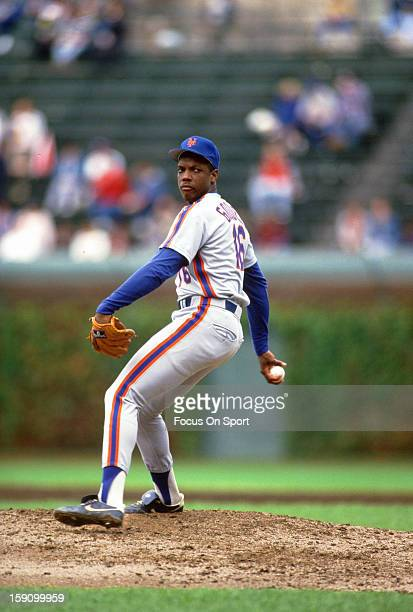 Dwight Gooden of New york Mets pitches against the Chicago Cubs during an Major League Baseball game circa 1987 at Wrigley Field in Chicago Illinois...