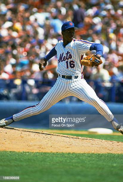Dwight Gooden of New york Mets pitches during an Major League Baseball game circa 1987 at Shea Stadium in the Queens borough of New York City Gooden...