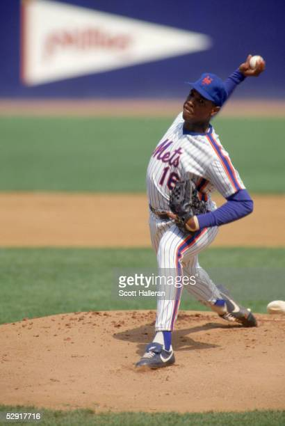 Dwight Gooden of the New York Mets delivers a pitch during a game in 1987 at Shea Stadium in Flushing New York