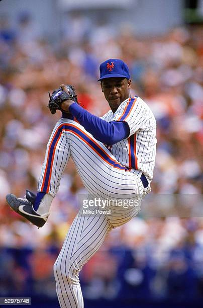 Dwight Gooden of the New York Mets pitches during an August 1988 game at Shea Stadium in Flushing New York
