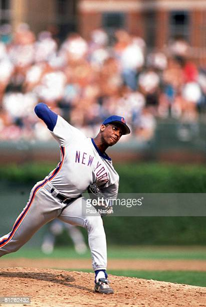 Dwight Gooden pitching for the 1985 New York Mets against the Chicago Cubs at Wrigley Field in Chicago Il Gooden finished 1985 with a 24 and 4 record