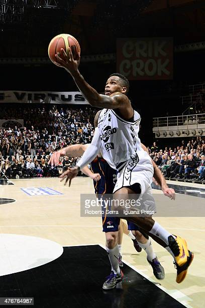 Dwight Hardy of Granarolo competes with Jimmy Baron of Acea during the LegaBasket Serie A1 match between Granarolo Bologna and Acea Roma at Unipol...