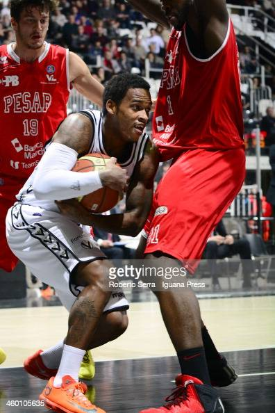 Dwight Hardy of Granarolo competes with Oderah Anosike of Pesaro during the LegaBasket Serie A1 match between Granarolo Bologna and Victoria Libertas...