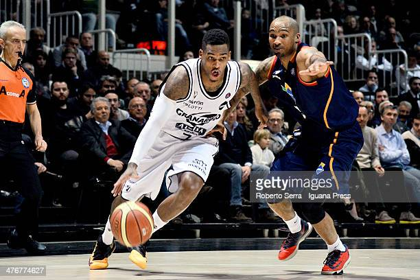 Dwight Hardy of Granarolo competes with Phil Goss of Acea during the LegaBasket Serie A1 match between Granarolo Bologna and Acea Roma at Unipol...