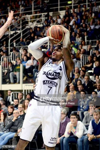 Dwight Hardy of Granarolo in action during the LegaBasket Serie A1 match between Granarolo Bologna and Acea Roma at Unipol Arena on March 2 2014 in...