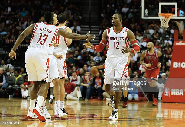 Dwight Howard and James Harden of the Houston Rockets celebrate after a basket during the game against the Chicago Bulls at Toyota Center on December...