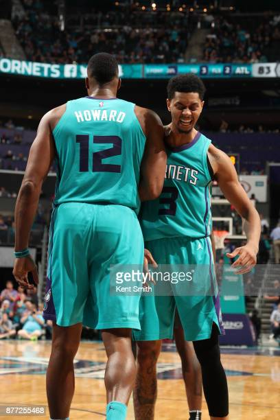 Dwight Howard and Jeremy Lamb of the Charlotte Hornets react during the game against the Atlanta Hawks on October 20 2017 at Spectrum Center in...