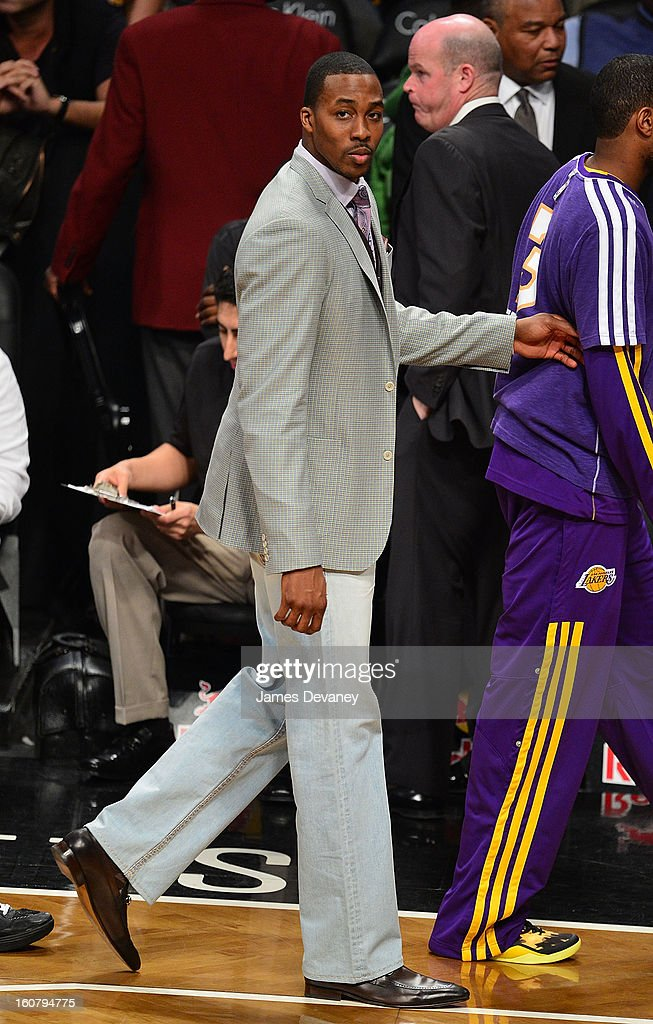 <a gi-track='captionPersonalityLinkClicked' href=/galleries/search?phrase=Dwight+Howard&family=editorial&specificpeople=201570 ng-click='$event.stopPropagation()'>Dwight Howard</a> attends the Los Angeles Lakers vs Brooklyn Nets game at Barclays Center on February 5, 2013 in the Brooklyn borough of New York City.