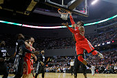 Dwight Howard of Houston Rockets goes to the basket during a match between Minnesota Timberwolves and Houston Rockets as part of 201415 NBA Season at...