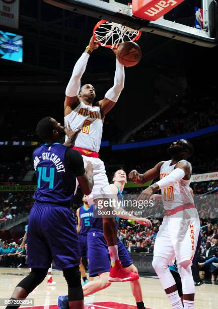 Dwight Howard of the Atlanta Hawks dunks against the Charlotte Hornets during the game on April 11 2017 at Philips Arena in Atlanta Georgia NOTE TO...