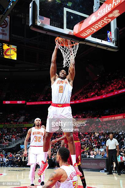Dwight Howard of the Atlanta Hawks dunks the ball against the Cleveland Cavaliers on October 10 2016 at Philips Arena in Atlanta Georgia NOTE TO USER...