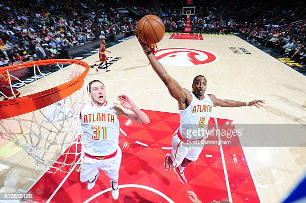 Dwight Howard of the Atlanta Hawks grabs the rebound during a preseason game against the Cleveland Cavaliers on October 10 2016 at Philips Arena in...