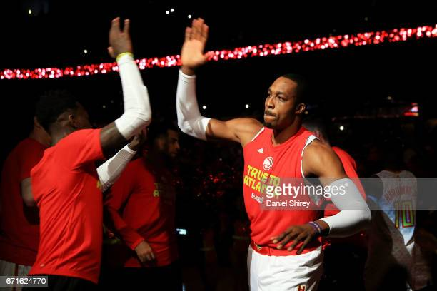 Dwight Howard of the Atlanta Hawks is introduced prior to the first quarter against the Washington Wizards in Game Three of the Eastern Conference...