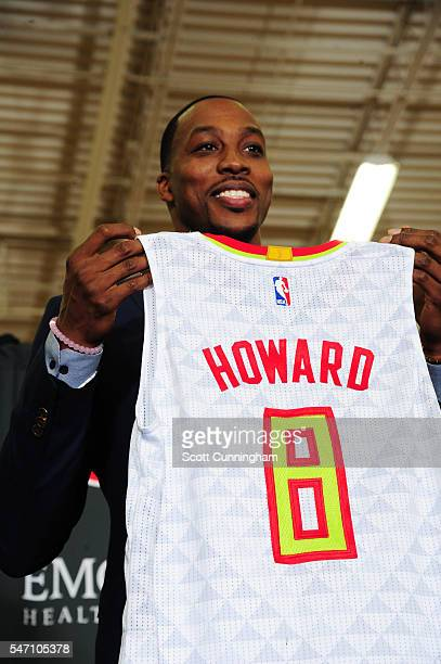Dwight Howard of the Atlanta Hawks is seen during a Press Conference for recent signees Dwight Howard and Kent Bazemore on July 13 2016 at William...