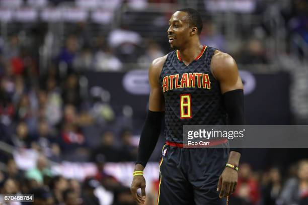 Dwight Howard of the Atlanta Hawks looks on against the Washington Wizards in the first half of Game Two of the Eastern Conference Quarterfinals...