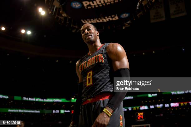 Dwight Howard of the Atlanta Hawks looks on during the game against the Boston Celtics on February 27 2017 at the TD Garden in Boston Massachusetts...