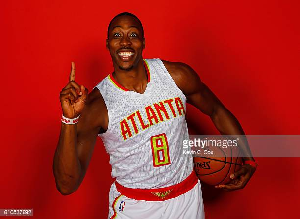 Dwight Howard of the Atlanta Hawks poses during media day on September 26 2016 in Atlanta Georgia