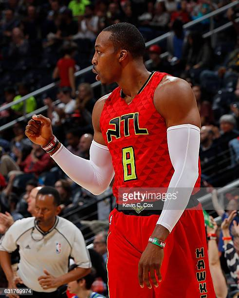 Dwight Howard of the Atlanta Hawks reacts after making a pass for a basket against the Milwaukee Bucks at Philips Arena on January 15 2017 in Atlanta...