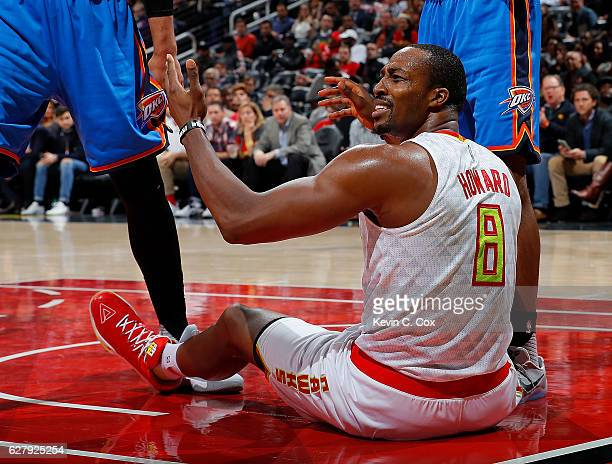 Dwight Howard of the Atlanta Hawks reacts to the referees during the game against the Oklahoma City Thunder at Philips Arena on December 5 2016 in...
