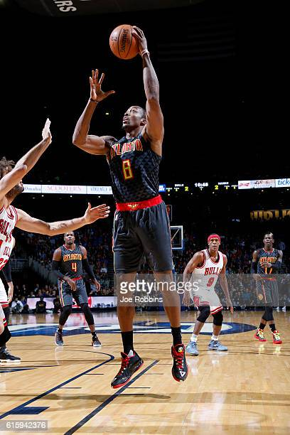 Dwight Howard of the Atlanta Hawks shoots the ball against the Chicago Bulls on October 20 2016 at CenturyLink Center in Omaha Nebraska NOTE TO USER...