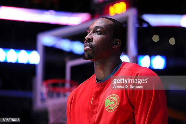 Dwight Howard of the Atlanta Hawks stands on the court for the National Anthem before the game against the Los Angeles Lakers on November 27 2016 at...