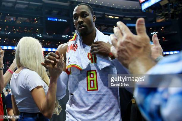 Dwight Howard of the Atlanta Hawks walks off the court after beating the Washington Wizards in Game Four of the Eastern Conference Quarterfinals...
