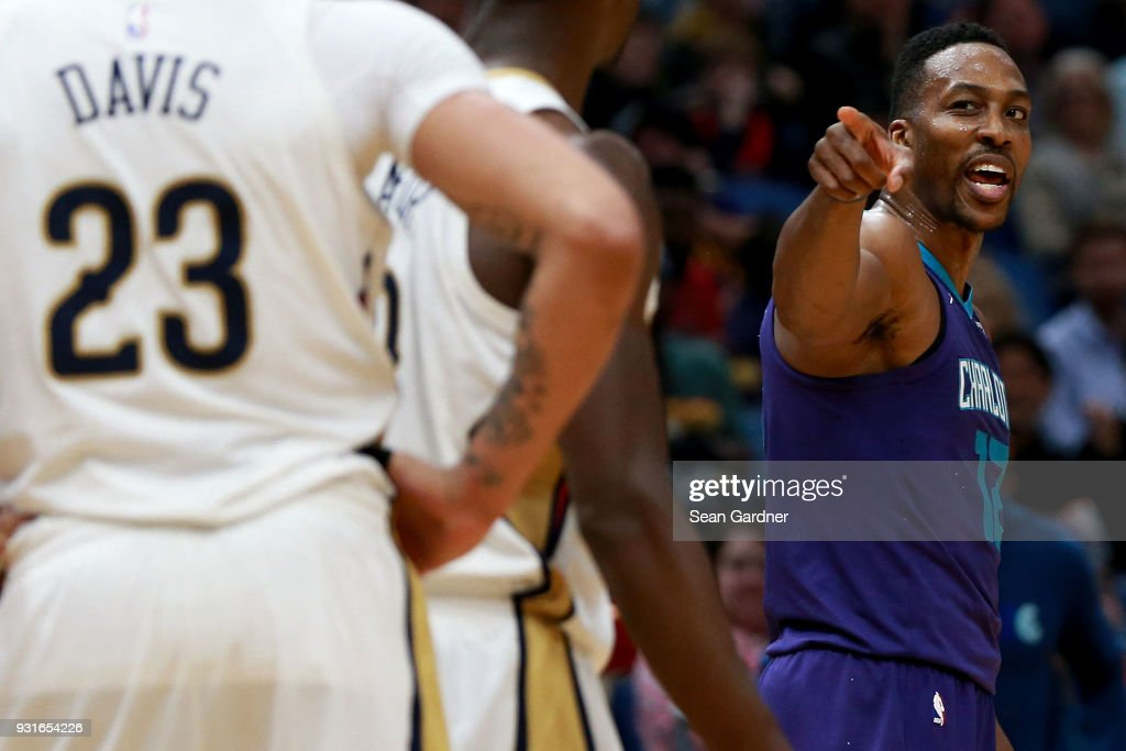 Dwight Howard #12 of the Charlotte Hornets argues a call during the second half of a NBA game against the New Orleans Pelicans at the Smoothie King Center on March 13, 2018 in New Orleans, Louisiana.
