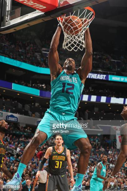 Dwight Howard of the Charlotte Hornets dunks against the Atlanta Hawks on October 20 2017 at Spectrum Center in Charlotte North Carolina NOTE TO USER...