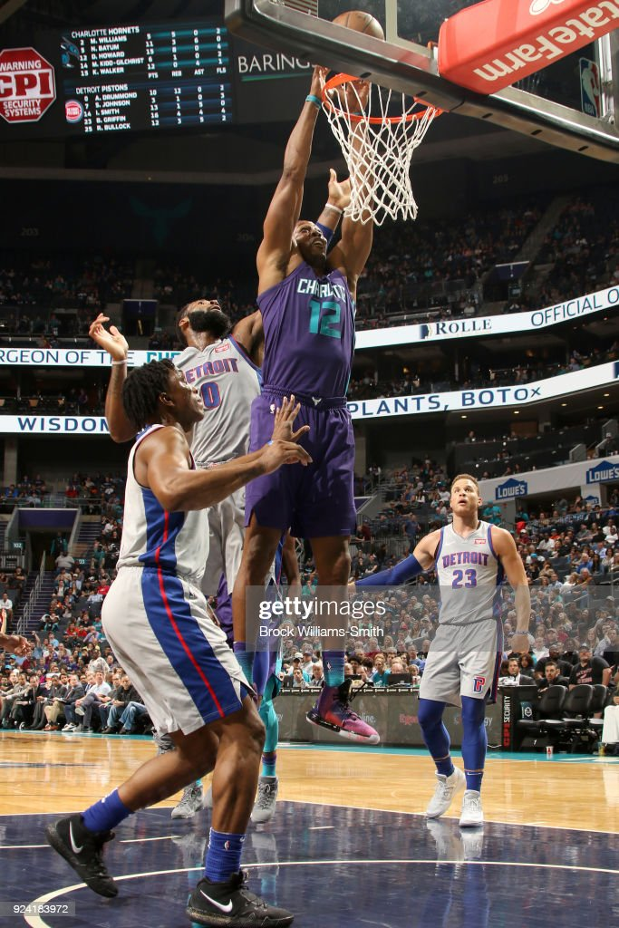 Dwight Howard #12 of the Charlotte Hornets dunks the ball against the Detroit Pistons on February 25, 2018 at Spectrum Center in Charlotte, North Carolina.